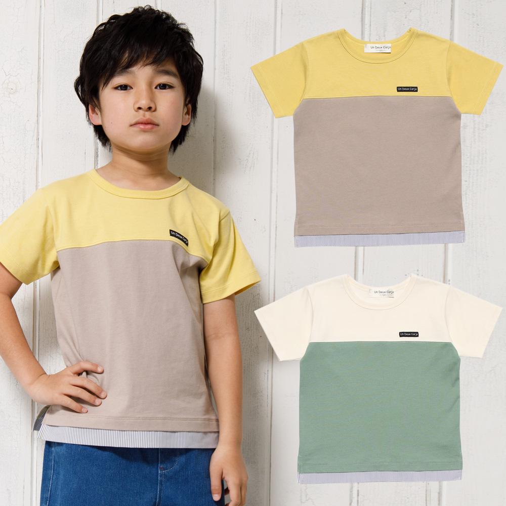 バイカラー切替えロゴワッペン付きTシャツ